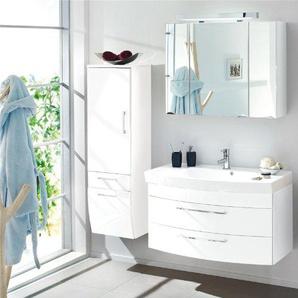 Badezimmer Set Hochglanz weiß Spiegelschrank Badmöbel Waschplatz Waschtisch