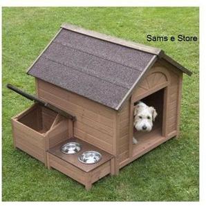 Sylvan Grande niche pour chien avec toit incliné qui souvre, section de rangement séparée et aire dalimentation surélevée Bois certifié FSC Niche pour chien en bois certifié FSC;