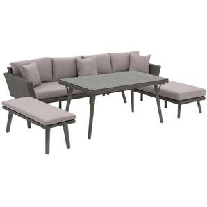 OUTLIV. Mantua Sofagruppe 4tlg Aluminium/Geflecht Grau/Beige