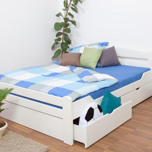 Doppelbett / Funktionsbett Easy Premium Line K4 inkl. 2 Schubladen und 1 Abdeckblende, 180 x 200 cm Buche Vollholz massiv weiß lackiert