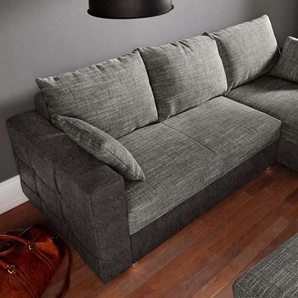 Raum.id Eckcouch, schwarz, B/H/T: 233x42x54cm, Inkl. loser Zier- und Rückenkissen, hoher Sitzkomfort