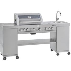 ROESLE Gasgrill BBQ-Kitchen Videro G4-SK Edelstahl, Outdorrküche mit integriertem Edelstahl-Waschbecken mit Wasserhahn, Modell 2019