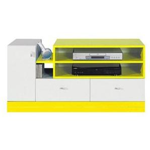 Jugendzimmer - TV-Unterschrank Geel 33, Weiß / Gelb - Abmessungen: 55 x 120 x 50 cm (H x B x T)