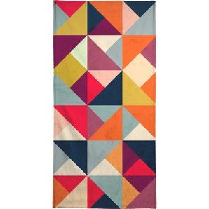 Handtuch »Bright Geometric Happy Pattern«, Juniqe, Weiche Frottee-Veloursqualität
