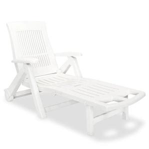 Sonnenliege mit Fußablage Kunststoff Weiß - VIDAXL