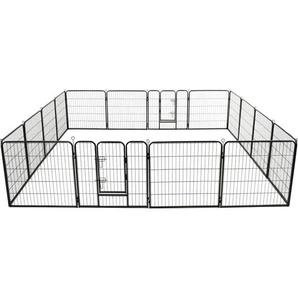 Hunde-Laufstall 16 Panels Stahl 80x80 cm Schwarz - VIDAXL
