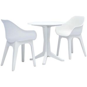 3-tlg. Bistro-Set Weiß Kunststoff - VIDAXL