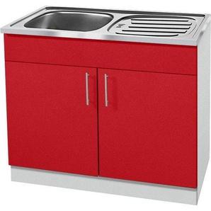 wiho Küchen Spülenschrank »Kiel« 100 cm breit mit Auflagespüle, rot