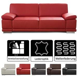 CAVADORE 3-Sitzer Sofa Corianne in Kunstleder / Couch Lederoptik in hochwertigem Kunstleder und modernem Design / Mit verstellbaren Armlehnen / 217 x 80 x 99 / Kunstleder rot
