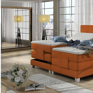 JUSTyou Tasso Boxspringbett Continentalbett Amerikanisches Bett Doppelbett Ehebett Gästebett Orange 140x200