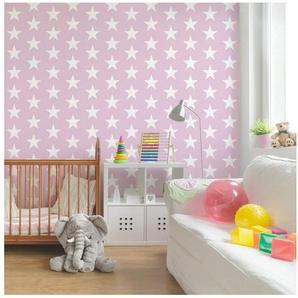 Bilderwelten Kinderzimmer Vliestapete Quadrat »Weiße Sterne auf Rosa«