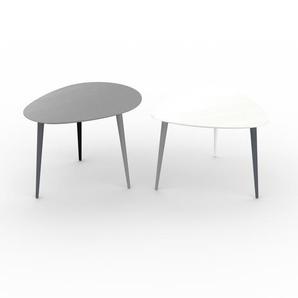 Couchtisch Weiß - Eleganter Sofatisch: Beste Qualität, einzigartiges Design - 67/59 x 47/44 x 50/61 cm, Konfigurator