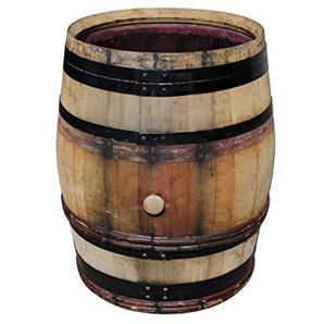 Burgunderfass, Regentonne, Regenfass, Fass aus Eichenholz mit schwarzen Ringen und Haselnussruten 228 l geöffnet - original Temesso-Fass