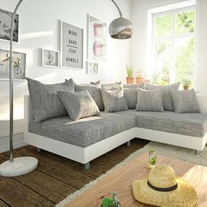 Ecksofa Clovis Weiss Hellgrau Modulsofa Ottomane Rechts, Design Ecksofas, Couch Loft, Modulsofa, modular
