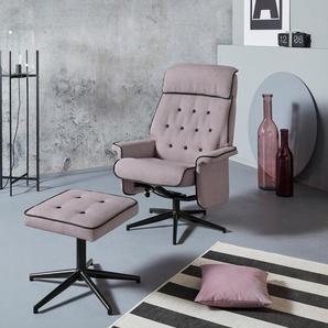 INOSIGN Relaxsessel »Newton«, mit Hocker aus schönem Webstoff, in zwei verschiedenen Farben mit mit schwarzem Drehfußgestell