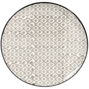 Dessertteller CHIANG MAI aus Keramik, D 21 cm, Mikromotiv, schwarz/ weiß