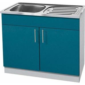 wiho Küchen Spülenschrank »Kiel« 100 cm breit mit Auflagespüle, blau