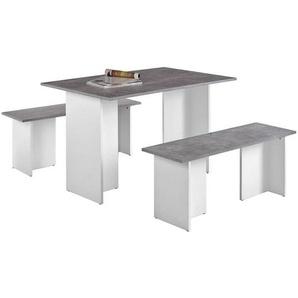 Carryhome: Tischgruppe, Grau, Weiß, B/H/T 80 74 120