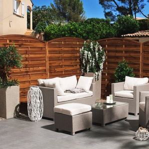 Lounge Set Rattan grau 4-Sitzer Auflagen beige MILANO
