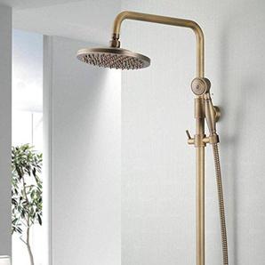 ZHFC Badezimmer Duschsysteme Bronze-Regen-Mischer-Dusche-Sätze, runde 8 Zoll kupferne obere Dusche Justierbarer Niederschlag-Duschekopf