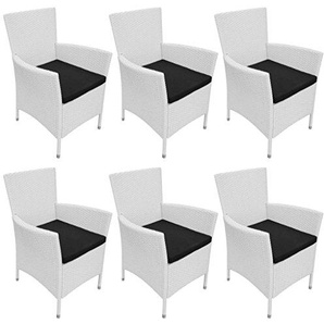 vidaXL 6X Gartenstuhl Poly Rattan Cremeweiß Sessel Sitzgruppe Stuhl mit Kissen
