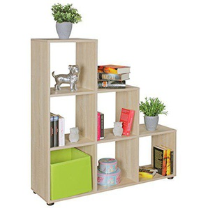 FineBuy Stufenregal Lena Sonoma Eiche Treppenregal für Ordner & Bücher 6 Fächer Holz | Design Raumteiler Regal | Modernes Aktenregal | Bücherregal