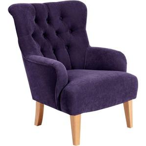 Max Winzer® Chesterfield-Sessel »Bradley«, mit edler Knopfheftung, lila, Luxus-Microfaser