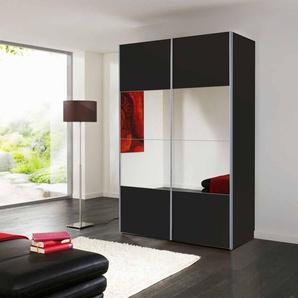 2-trg. Schwebetürenschrank in schwarz mit Spiegelflächen, 2 Kleiderstangen und 2 Wäscheböden, Maße: B/H/T ca. 150/216/68 cm