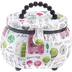 Home affaire Nähkästchen, oval, aus Kunststoff und Textil in den Farben Weiß und Rosa