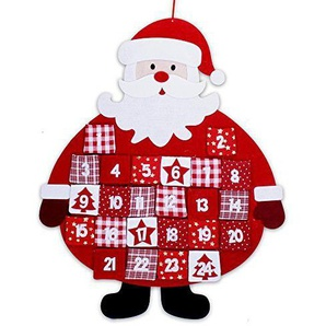 MC Adventskalender aus Stoff zum Aufhängen Santa mit 24 Stofftäschen in rot weiß