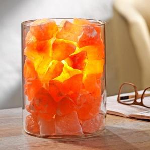 """Salz-Kristall """"Feuer im Glas"""", Glas-Windlicht, roséfarbenes Kristallsalz, Palmwachskerze, Klarglas-Zylinder"""