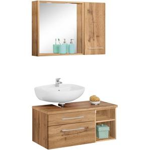 Badmöbel-Set mit Hängeschrank und Spiegel »Davos«, weiß, Siphonausschnitt links, Held Möbel