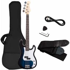COSTWAY Bassgitarre mit 4 Saiten, E-Gitarre, Elektrogitarre, E-Bass, E-Bass-Gitarre mit Gitarrentasche, Gurt, Plektrum, Verstaerkerkabel, 2 Tonabnehmer und Klangregler, ideal fuer Anfaenger Blau