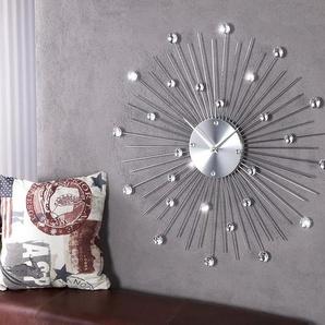 Extravagante Wanduhr SUNBURST mit Kristallen 50cm