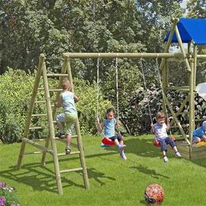Spielturm Eddie mit Doppelschaukel und Sandkasten 560x190x290cm