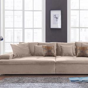 Nova Via Big Sofa, grau, Inkl. loser Zier- und Rückenkissen, hoher Sitzkomfort