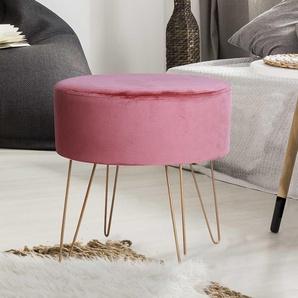 Samt Hocker in Rosa Retro Design