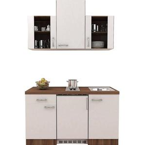 Flex-Well Exclusiv Küchenzeile Cosmo 150 cm Perlmutt glänzend-Nussbaum