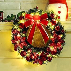 FeiliandaJJ Weihnachten Decoration Kranz mit LED 40CM Künstliche Blume Weihnachtskugeln Bogen Herbst Kranz für Tür Wand Party hängenden Garland Ornamente Weihnachtsschmuck (Rot)