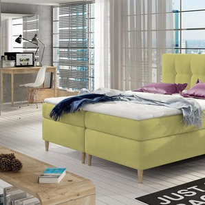 JUSTyou Eden Boxspringbett Continentalbett Amerikanisches Bett Doppelbett Ehebett Gästebett Gelb 160x200