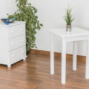 Tisch Kiefer massiv Vollholz weiß lackiert Junco 233A (eckig) - Abmessung 60 x 60 cm