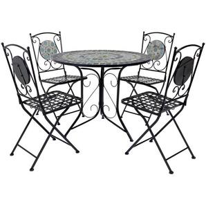 Charles Bentley - Gartenmöbel-Set mit Tisch & 4 Stühlen - Mosaikmuster in Blau