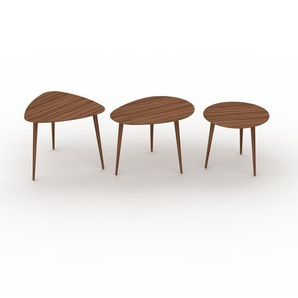 Couchtisch Nussbaum, Holz - Eleganter Sofatisch: Beste Qualität, einzigartiges Design - 59/67/50 x 50/47/44 x 61/50/50 cm, Konfigurator