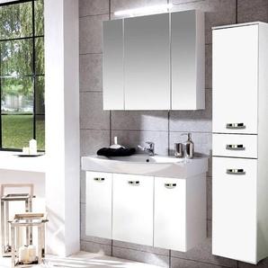 Badezimmer Waschplatz Set TRIEST-04 weiß Glanz, 80cm Keramik-Waschtisch & Spiegelschrank, Hochschrank