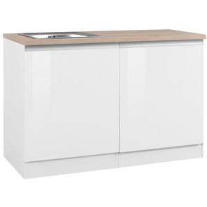 HELD MÖBEL Spülenschrank »Ohio« Breite 120 cm, mit Tür/Sockel für Geschirrspüler, weiß