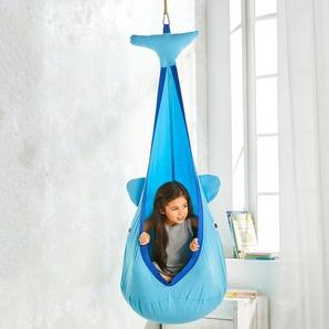Hängehöhle Wal für Kinder, belastbar bis 80 kg, Blau, unisex, aus Baumwolle