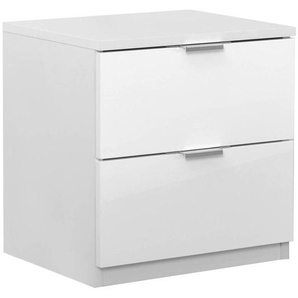 Nachtkommode Sabadell 22, Farbe: Weiß / Weiß Hochglanz - 47 x 45 x 38 cm (H x B x T)