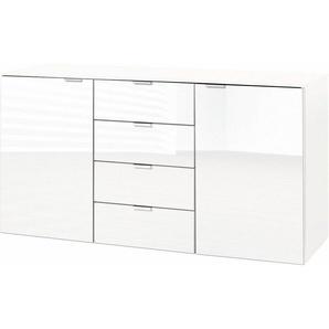 Express Solutions Kombikommode, Breite 140 cm, mit Glas, weiß