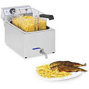 Royal Catering RCEF 15E Elektro-Fritteuse Edelstahl (17 L, 3.000 W, Thermostat, Temperaturbereich 60-200 °C, Ablasshahn)