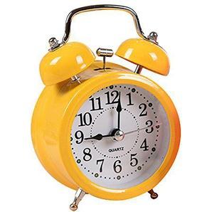 Jinberry Retro Wecker / glockenwecker / Vintage Tischuhr mit licht Nachtlicht, Süß 3 Zoll Leuchtend Analog Quarz Alarm Clock - Gelb